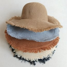 wide brim cream hat Australia - 2019 Fashion Floppy Straw Hats Casual Vacation Travel Wide Brimmed Sun Hats Foldable Beach Hats For Women With Big Heads