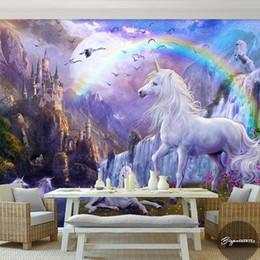 $enCountryForm.capitalKeyWord Australia - New 8D Large Mural Castle Rainbow White horse Wall Decoration 3d Horse Mural Wallpaper 3D Cartoon Wall Mural for Child Room