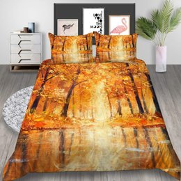 3d oil paint Australia - Maple Printed Bedding Set King Size Oil Painting Style 3D Duvet Cover Queen Creative Home Deco Single Double Bed Cover with Pillowcase