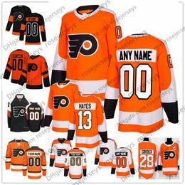 Опт Custom Philadelphia Flyers # 13 Kevin Hayes Джерси Любое число Имя мужчины женщины молодежь малыш Белый Черный Оранжевый Хартман 00 Gritty 28 Giroux Voracek