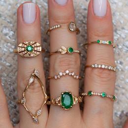 $enCountryForm.capitalKeyWord Australia - Retro Vintage Stackable Knuckle Set Rings 9 pcs Gold Color Green Emerald Twist Rings for Women Girls