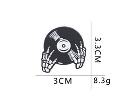 Wholesale Skull Pins Australia - 2019 New DJ Disc pins music lover brooch Heavy metal enamel gesture DJing brooches Gothic skull lapel pin badge button for coat backpack 177