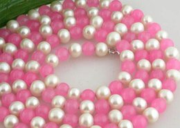 "$enCountryForm.capitalKeyWord Australia - necklace Hot sale >great 50"" 9mm nature round pink jade white pearl necklace"