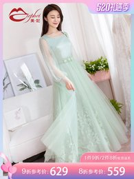 self print patterns NZ - Fairy2019 Dress Embroidery Gauze Spring And Summer New Pattern Self-cultivation Thin Will Pendulum Long Princess Skirt Woman 921661