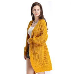 3fe3fb73e4 Long Cardigan Sweater FemaleAutumn Winter Loose Knitting Puff Sleeve Solid  Coat for Female Causal Autumn Sweater Women Winte