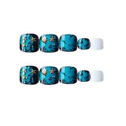 Cute aCryliCs nails online shopping - 24pcs False toe nails with glue summer cute fake toe nails short toe nail tips for women girls