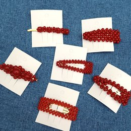 $enCountryForm.capitalKeyWord NZ - Women Hairpins Hair Clips Red Beads Bobby Side Clips Barrettes Headwear For Ladies Girls Fashion Hair Tools Accessories Headdress Jewelry