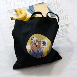 $enCountryForm.capitalKeyWord NZ - 2019 Cute Cat Cartoon Canvas Bags Shoulder Bag Fashion Women Shopper Bag Female Simple Casual Shopping Bags Handbag Tote Ladies