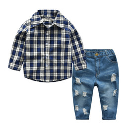 $enCountryForm.capitalKeyWord UK - toddler clothing set for boys&girls Plaid shirt with jeans suit casual kids spring autumn costume 2 4 6 8 years baby clothes