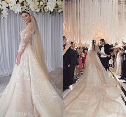 $enCountryForm.capitalKeyWord Australia - Luxury Dubai Arab Long Sleeve Lace Applique Wedding Dress Champagne V Neck A-line Middle East Beach Bohemian Bridal Gown With Court Train