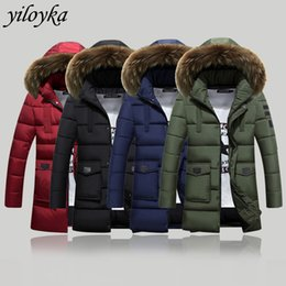 green parkas coats hombre NZ - -30 Degree New Winter Jacket Men Thicken Warm Parkas Big Fur Collar Hooded Coat Man's Jackets Outwear Parka Hombre Coat Men 3XL