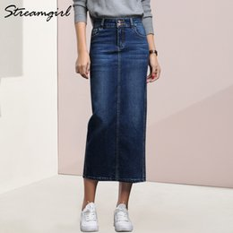 b05444f1b20842 capitalKeyWord Australia - Streamgirl Women Denim Skirt Long Saia Jeans  Women's Skirt Denim