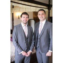 Dark Green Tie Grey Suit Australia - Custom Made Grey Groomsmen Suits Slim Fit Groom men suit Tuxedos Bridegroom Formal Business Men's Suits( jacket+Pants+vest+tie)