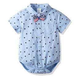 $enCountryForm.capitalKeyWord Australia - Baby Boy clothing summer 100% cotton romper Turn Down Collar gentleman UK Little Stars Print short sleeve romper Baby formal clothing