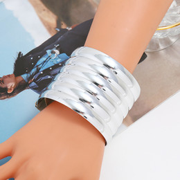 $enCountryForm.capitalKeyWord Australia - LZHLQ 2020 New Fashion Women Elastic Punk Stripe Hollow Bracelet Rope Metal Plated Wide Bangle Maxi Round Stone Jewelry Bracelet