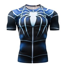Superhero Shirts Wholesale Australia - Running T-shirt short-sleeved 3D printing superhero blue spider men's jogging t-shirt gym fitness bodybuilding compression top