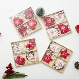 $enCountryForm.capitalKeyWord Australia - 12pcs box New Year Natural Wood Christmas Tree Ornament Wooden Hanging Pendants Gifts Snow Elk Christmas Decor 2019 navidad