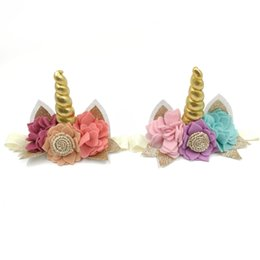 Wholesale 10Pcs Gold Unicorn Headband Handmade Felt Flowers Hair Band Glitter Ear Headband Baby Girl Hair Accessory Kidocheese
