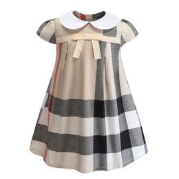HigH kids clotHes online shopping - INS girl dress clothing NEW arrival summer Girls short Sleeve lapel dress high quality cotton baby kids big plaid bow dress