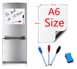 Pen Boards UK - A6 Size Magnetic Whiteboard Fridge Magnets Presentation Board Home Kitchen Message Boards Writing Sticker Magnets 1 Eraser 3 Pen