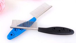 pet hair removal products Canada - Stainless Steel Pet Dog Comb for Dogs Cats Hair Removal Single Row Straight Comb Puppy Hair Grooming Tool Pet Products Wholesale