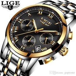 Опт LIGE Часы Моды для Мужчин Спортивные Кварцевые Часы Мужские Часы Лучший Бренд Класса Люкс Full Steel Водонепроницаемый Золотые Наручные Часы Relogio Masculino LG9849