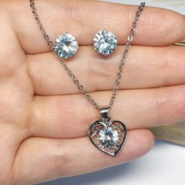 $enCountryForm.capitalKeyWord Australia - Jewelry Sets for Women Round Cubic Zircon Hypoallergenic Copper Necklace Earrings Jewelry Sets Wholesale