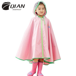 $enCountryForm.capitalKeyWord NZ - QIAN RAINPROOF Kids Rain Coat Flowering In Rain Children Rainwear PU Coating Rainsuit Transparent Big Brim Cloak Raincoat