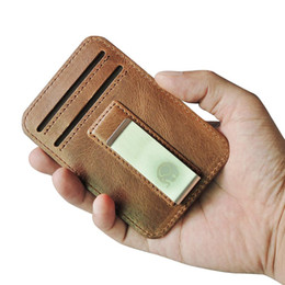 block brown UK - Leather Men Wallets Slim Minimalist Front Pocket Hook Blocking Leather Wallets Pocket Gifts