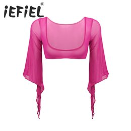Open bust leather online shopping - Womens Female Ballet Dance Coat Soft Mesh See Through Sheer Open Bust Flared Sleeves with Cuff Split Belly Dance Crop Top