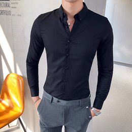 red fitted dress long sleeve prom UK - British Hot Sale Men Dress Shirt Fashion 2019 Long Sleeve Men's Social Shirts Slim Fit Night Club Prom Tuxedo Male Clothing 3XL