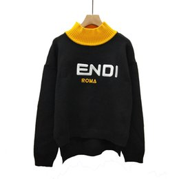 $enCountryForm.capitalKeyWord Australia - A small amount spot loose Korean version of the embroidery F letter yellow collar short long head fashion knit shirt women