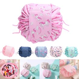 drawstring cosmetic bag Australia - Large Lazy Cosmetic Bag Quick Drawstring Travel Make up Organizer Foldable Toiletry Case Waterproof Bag