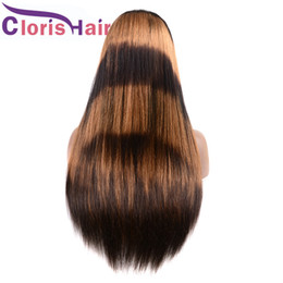 Discount highlights for black hair woman - Raw Indian Straight Ombre Human Hair Wigs Highlight F1B 27 Glueless Lace Front Wig Preplucked Honey Blonde Full Lace Wig