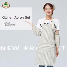 $enCountryForm.capitalKeyWord Australia - MSJO Kitchen Apron Set Cotton Cook Cute Stripe Aprons for chefs Gardener Bib Set Sleeve Hat Suit Women Coffee Barista Apron Kit
