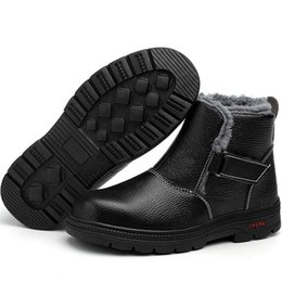 $enCountryForm.capitalKeyWord NZ - Winter Work Safety Boots Fur Warm Snow Boots For Men Steel Toe Safety Shoes Adult Non-slip Anti-static Rubber Casual Plush Ankle Boots