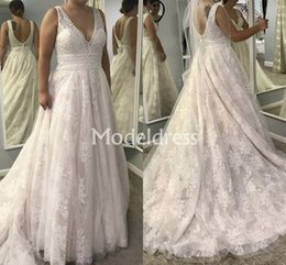 Country Elegant Wedding Dresses Australia - Luxury Lace Wedding Dresses 2019 V-Neck Sweep Train A-Line Backless Elegant Country Style Bridal Gowns Appliques Plus Size Vestidoe De Noiva