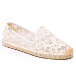 Black Ladies Shoe UK - Espadrilles Casual Round Toe 2019 Ladies Beautiful Flats Shoes Fisherman China White Sandals Slip On Breathable Mesh Lace Wholesale