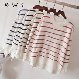 $enCountryForm.capitalKeyWord Australia - 2019 Women Korean Fashion Pull Sweaters Oneck long Sleeve Knitwear Irregular Loose Jumpers hole Cute striped Pullover Tops