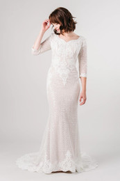 sparkling mermaid wedding dresses NZ - 2019 Champagne Unique Sparkle Lace Mermaid Modest Wedding Dresses With 3 4 Sleeves LDS Women Conservative Bridal Gowns For Winter Wedding