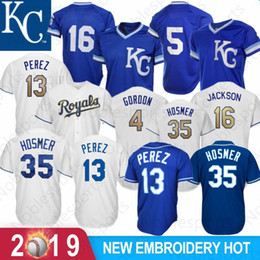 9e5da08a2 Kansas City 16 Bo Jackson Royals 13 Salvador Perez 4 Alex Gordon 35 Eric  Hosmer 5 George Brett Baseball Jerseys 100% Stitched