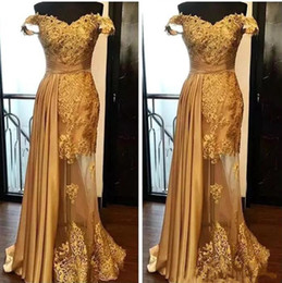 Cheap golden evening dresses online shopping - Off The Shoulder Long Evening Dresses Arabic Golden Tulle Applique Ruched Beaded Floor Length Pageant Formal Party Gowns Prom cheap