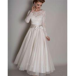 Vintage Plus Size Beach Wedding Dresses Australia - 2019 Vintage White Organza Country Wedding Dresses Tea Length Long Sleeves Beach Bridal Gowns Custom Lace Plus Size Wedding Gowns