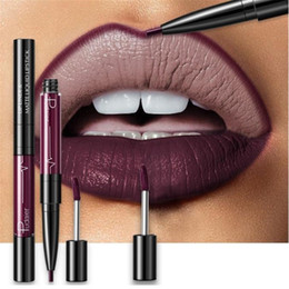 dark red matte lipstick Australia - 16 Color Double-ended Lipstick Lips Makeup Easy to Wear Matte Lip Gloss Lipliner Pencil Red Nude Pink Purple Liquid Lipsticks