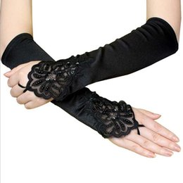 $enCountryForm.capitalKeyWord Australia - Black Embroidered Long Gloves Women Halloween Fingerless Beading Sequin Gloves Vintage Gothic Gloves Nightclub Wedding Bride Accessory