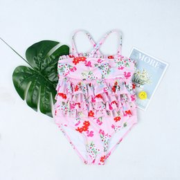 swimsuit cake NZ - 2019 New Swimsuit Girl's One Piece Swimwear Children Bodysuit Pretty Cake Flounce Clothing Sets Baby & Kids Clothing Swimsuit for Girl Beach