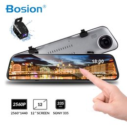12 touch screen UK - Bosion 12 inches Touch Screen 1080P Car DVR Dash camera Dual Lens Video Recorder Rearview mirror Super night vision Rear camera