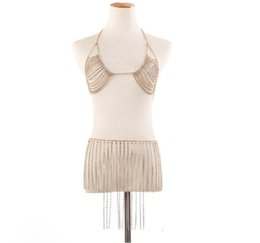 $enCountryForm.capitalKeyWord UK - blingbling wholesale Sexy Diamond jewelry Hot sell breast chain nightclub bikini neck fringe bra body chain suit Party dress