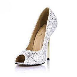 White Glitter Peep Toe UK - Glitter Sexy Party Shoes Women Peep Toe Stiletto Iron High Heels Ladies Pump Plus Sizes 10 Zapatos Mujer 3845-a14