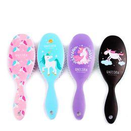 Combing Wet Hair Australia - Plastic Oval Latest Printing Hair Brush Hair Detangler Brush Massage Comb With Airbags Combs For Wet Hair Shower Brush for women